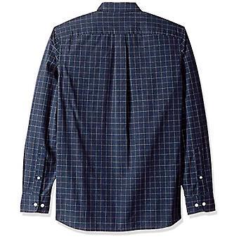 Goodthreads Miehet&s Standard-Fit pitkähihainen ruudullinen poplin paita button-down kaulus, navy windowpane, pieni