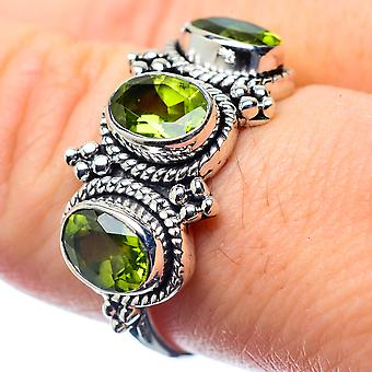 Peridot Ring Size 8.25 (925 Sterling Silver)  - Handmade Boho Vintage Jewelry RING26496