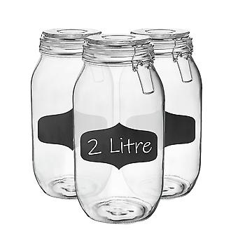 Glazen opbergpotten met luchtdichte cliplid en krijtbordstickers - 2 liter set - witte afdichting - verpakking van 6