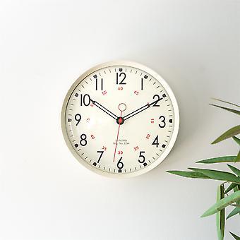 Retro Metal Kitchen Wall Clock - 12in - Cream Home Office Kitchen Clocks