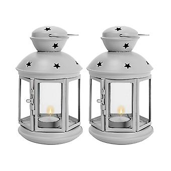 Nicola Spring Candle Lanterns Tealight Holders Metal Hanging Indoor Outdoor - 20cm - Grey - Set of 2