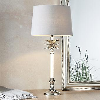 Table Lamp Polished Nickel Plate & Charcoal Linen 1 Light IP20 - E27
