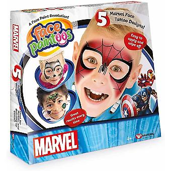 Face paintoos disney marvel edition  with 5 marvel characters and designs, for