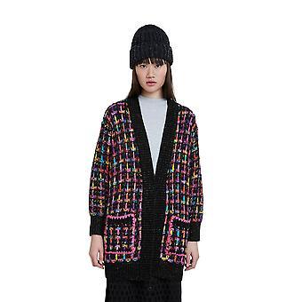 Desigual Black & Bright Check Sparkly Long Warm Cardigan 20WWJF36