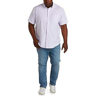 Essentials Men's Short-Sleeve Pocket Oxford Shirt fit by DXL, Lavendar Stripe, 4XL