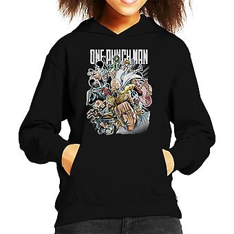 One Punch Man Character Montage Kid's Hooded Sweatshirt