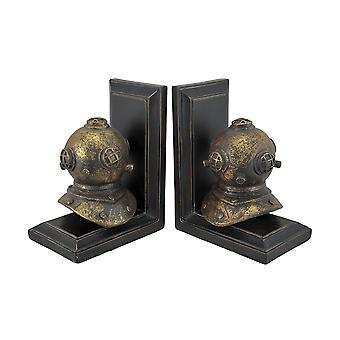 Pair of Retro Mark V deep Sea Diver Helmet Bookends