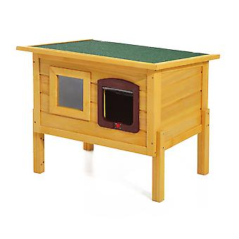 Pawhut Garden Wooden Cat House Hide Cage Outdoor Pet Play Home Water-resistant Roof Kitty Shelter Kennel w/ith Door & Window