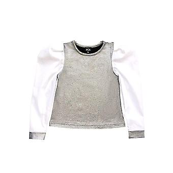 Puffed Sleeve Silber Bluse