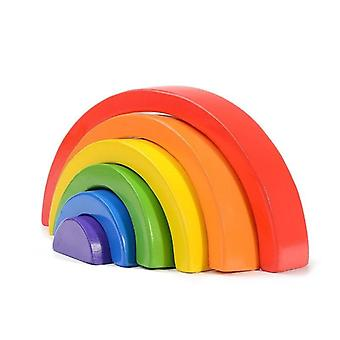 High-quality Large Rainbow Stacker Wooden -creative  Building Blocks