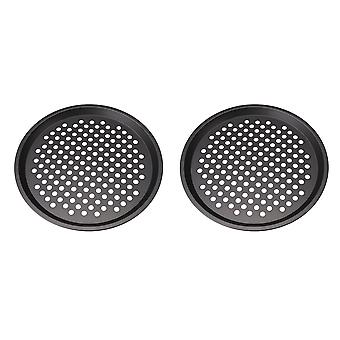 2 Pieces 12 Inch Black Round Nonstick Pizza Pan Kitchen Cooking Parts