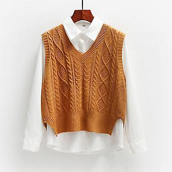 Elegant V-neck Trendy Ins Lady Sleeveless Sweaters Fall Winter Classic College