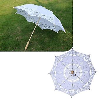 Manual Opening Wedding Bridal Parasol Umbrella Hollow Out Embroidery Lace Solid