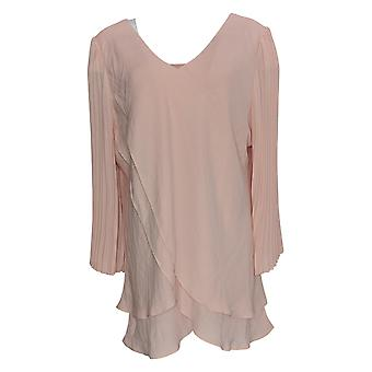 Laurie Felt Women's Top Reversible 3/4 Pleated Sleeve Blouse Pink A379346