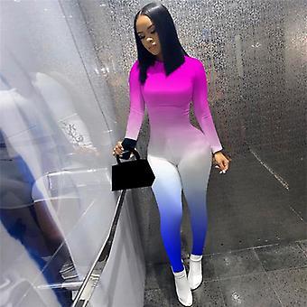 Femme Gradient Print Long Sleeve Sport Bodycon Jumpsuit Automne Winter Romper