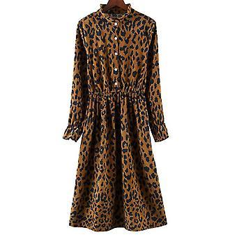 Jesień/zima Casual Long Sleeve High Elastic Waist Floral Print Party Dress
