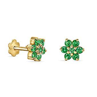 Boucles d'oreilles Stud Flora on 18K Gold and Precious Stone - Ruby | Saphir | Émeraude (Pièces simples)