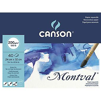 Canson montval 200gsm watercolour practice paper pad including 40 sheets, size:24x32cm, natural whit