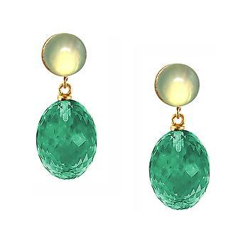 Gemshine Ohrringe grüne Turmalin Quarze und Chalcedon in 925 Silber vergoldet