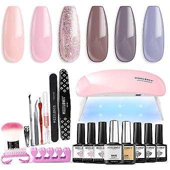 Modelones Gel Nail Polish kit with U V light 6W Mini Lamp, 6 Colors Gel Nail Polish Set