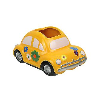Bright Yellow Flower Power Love Bug Vintage Look Ceramic Planter