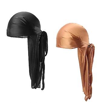 סילקי Durags גברים, נשים, דוראג זנב ארוך, כובע כימותרפיה, נשימהturban, פיראט
