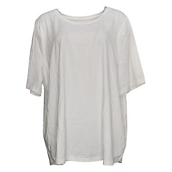 Denim & Co. Women's Plus Top Essentials AnyWear Jersey White A390702