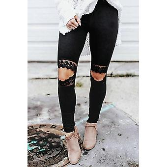 Lace Hollow Out Black Casual Skinny Leggings