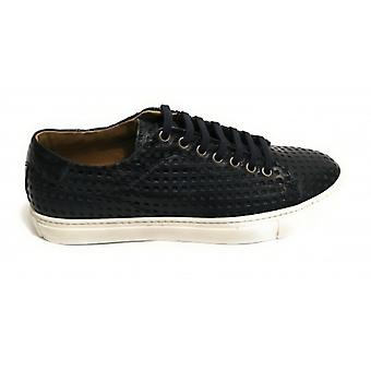 Men's Shoes Sneaker Yox By Nicola Barbato In Lasered Leather Dived Col. Blue Us18nb04