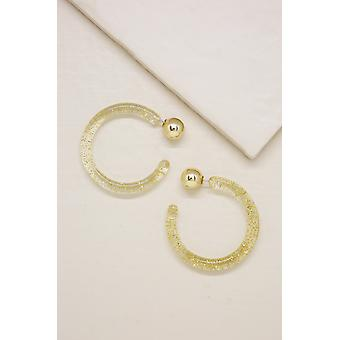 Gemini Gold Flecked Resin Hoop Oorbellen