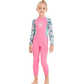 Kids wetsuit long sleeve one piece uv protection thermal swimsuit dfse-25