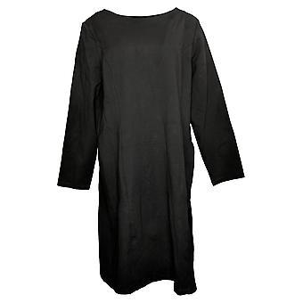Susan Graver Women's Top Ponte Knit Bateau-Neck With Pockets Black A387875