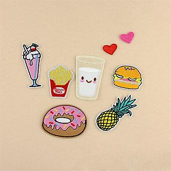 1 Set Package Embroidery Iron On Patches Sewn Applique Cute Logo Food Uniform Diy Embroidered Patch