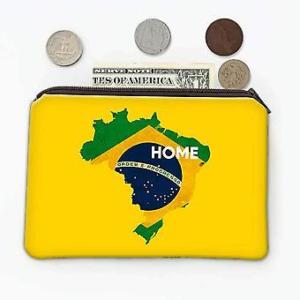هدية عملة محفظة: البرازيل الصفحة الرئيسية خريطة العلم البرازيلي