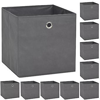 vidaXL boîtes de rangement 10 pcs. Non-tissé 32 x 32 x 32 cm gris