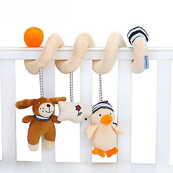 Cartoon Dog Duck Baby Spiral Toy Cute Stroller Hanging Toy With Sound Paper Sound Ball Bb Device Music Box Plush Activity Sipral