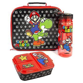 Super Mario lunchbox set voor kinderen | Yoshi Childrens School Food Bag, BPA Gratis WaterFles 580ML &Snack Pot | Gamer Merchandise Geschenken One Size
