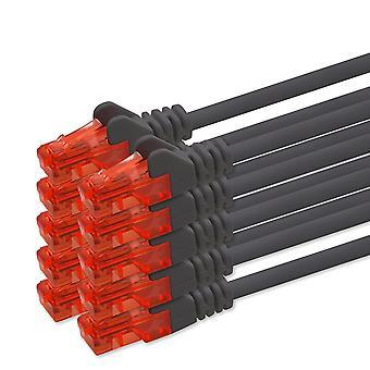 FengChun Netzwerkkabel Cat6 3m - schwarz - 10 Stück CAT.6 Computer Kabel Lan Ethernet Gigabit Cat 6