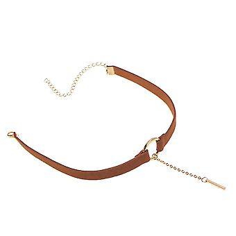 Silver plated metal pendant leather round choker necklace for couple lovers