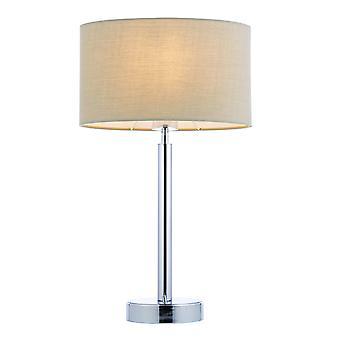 Lampe de table plaque chromée, tissu Taupe abat-jour ovale avec prise USB