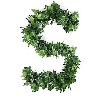 90Pcs 2.4m boston ivy fake garland greenery decor faux green hanging plant vine x1451