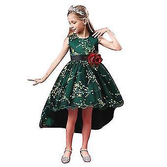 150Cm verde princesa meninas vestido para festa de aniversário de casamento com tamanho 3-14 anos x2116