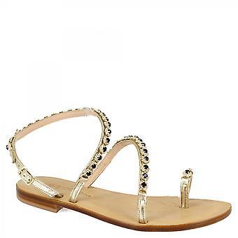 Leonardo Shoes Women's elegant thong sandals handmade in platinum calfskin with black rhinestones