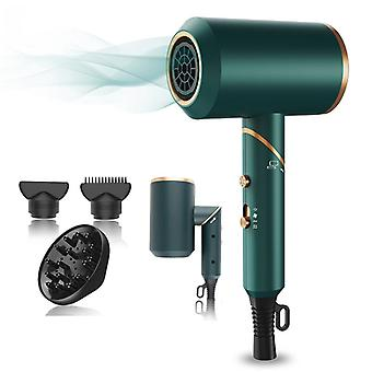 2000W Folding Hair Dryer Seamless Folding Household Hair Dryer Cold/Hot Air Diffuser Fast Dry(Green)