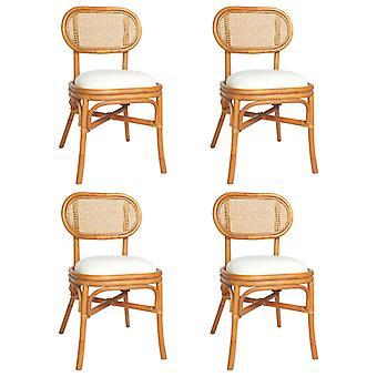 vidaXL dining chairs 4 pcs. light brown linen cover