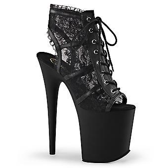 Pleaser Damen's Schuhe FLAMINGO-896LC Blk Mesh-Lace/Blk Matte