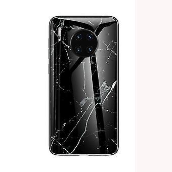 Boîtier en verre trempé résistant aux chocs de marbre pour Huawei Mate 20 Lite - Noir