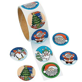 Roll of 100 Christmas Kids Fun Stickers