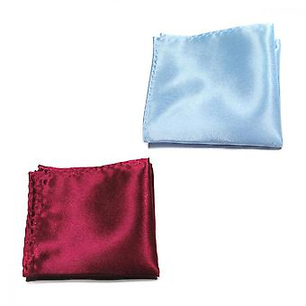 Pocket Square Handkerchief, 2 Pcs Polyester Solid Color Hanky(wine Red, Sky Blue)