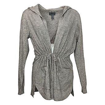 ModernSoul Women's Sweater Plus Spacedye Tie-Front Cardigan Gray 681524